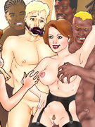 Awesome tits cartoon brunette beauty gonna be fucked by black stranger with big prick.