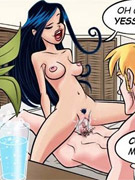 Ginger bitch roped and with a gag get injected with a special sexual elixir in hot toon porn
